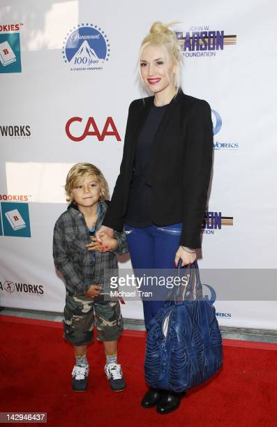 Gwen Stefani and son, Kingston Rossdale arrive at the Milk + Bookies 3rd Annual Story Time Celebration held at Skirball Cultural Center on April 15,...