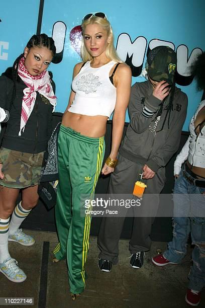 Gwen Stefani and the Harajuku girls during Sandra Bullock and Gwen Stefani Visit MTV's 'TRL' March 22 2005 at MTV Studios Times Square in New York...