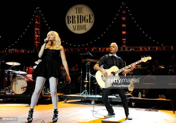 Gwen Stefani and Tony Kanal of No Doubt perform as part of the 23rd Annual Bridge School Benefit at Shoreline Amphitheatre on October 25, 2009 in...