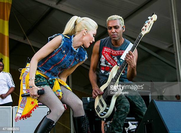 Gwen Stefani and Tony Kanal of No Doubt perform during the 2015 New Orleans Jazz & Heritage Festival - Day 5 at Fair Grounds Race Course on May 1,...