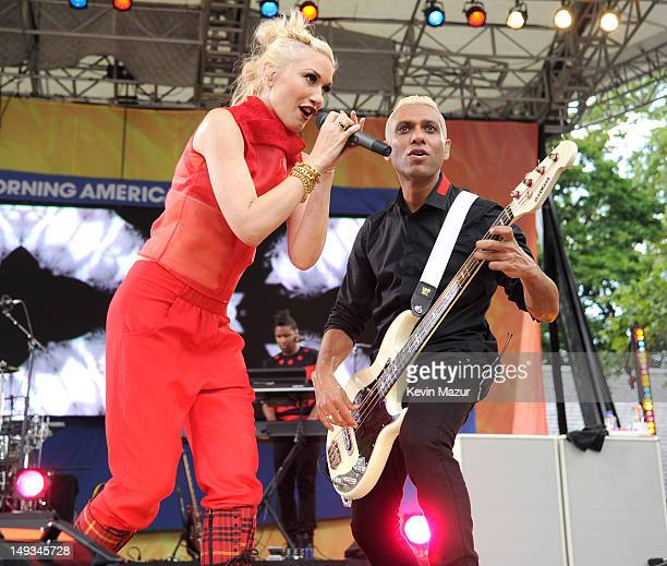 """Gwen Stefani and Tony Kanal of No Doubt perform on ABC's """"Good Morning America"""" at Rumsey Playfield, Central Park on July 27, 2012 in New York City."""