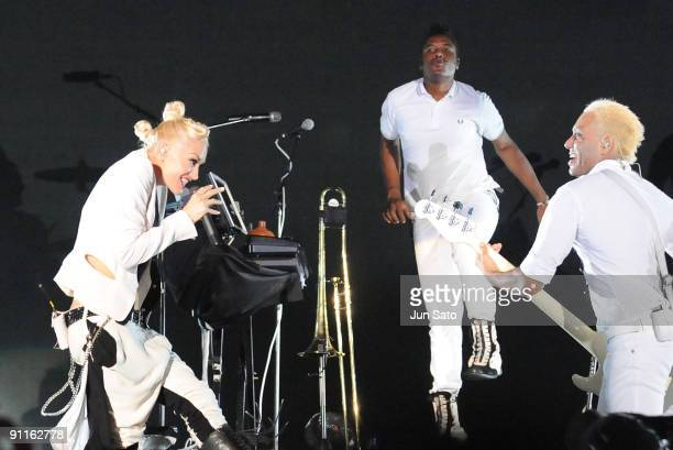 Gwen Stefani and Tony Kanal of No Doubt perform on stage on the second day of the three day F1 Rocks Singapore concert at Fort Canning Park on...