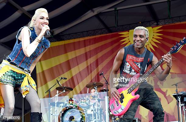 Gwen Stefani and Tony Kanal of No Doubt performs at Fair Grounds Race Course on May 1, 2015 in New Orleans, Louisiana.