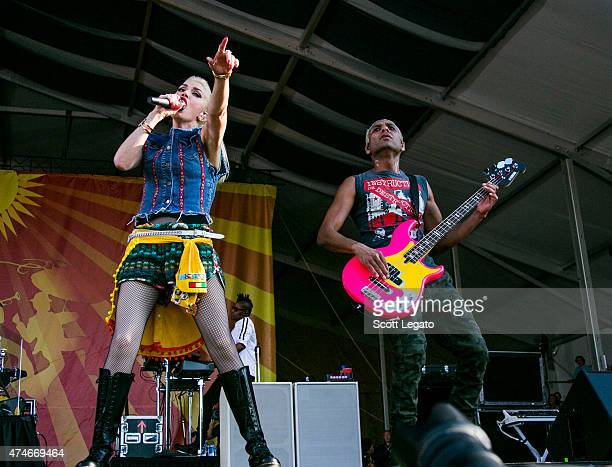 Gwen Stefani and Tony Kanal of No Doubt performs during 2015 New Orleans Jazz & Heritage Festival - Day 5 at Fair Grounds Race Course on May 1, 2015...