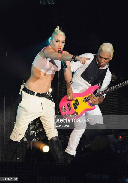 Gwen Stefani and Tony Kanal of No Doubt performs on stage on the second day of the three day F1 Rocks Singapore concert at Fort Canning Park on...