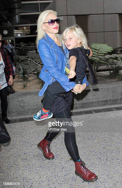 Gwen Stefani and Zuma Nesta Rock Rossdale sighting at LAX on September 29 2012 in Los Angeles California