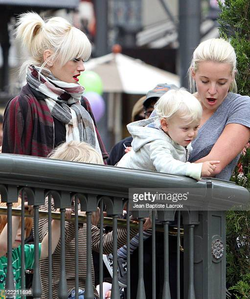 Gwen Stefani and Zuma Rossdale attend a children show at The Grove on July 7 2010 in Los Angeles California