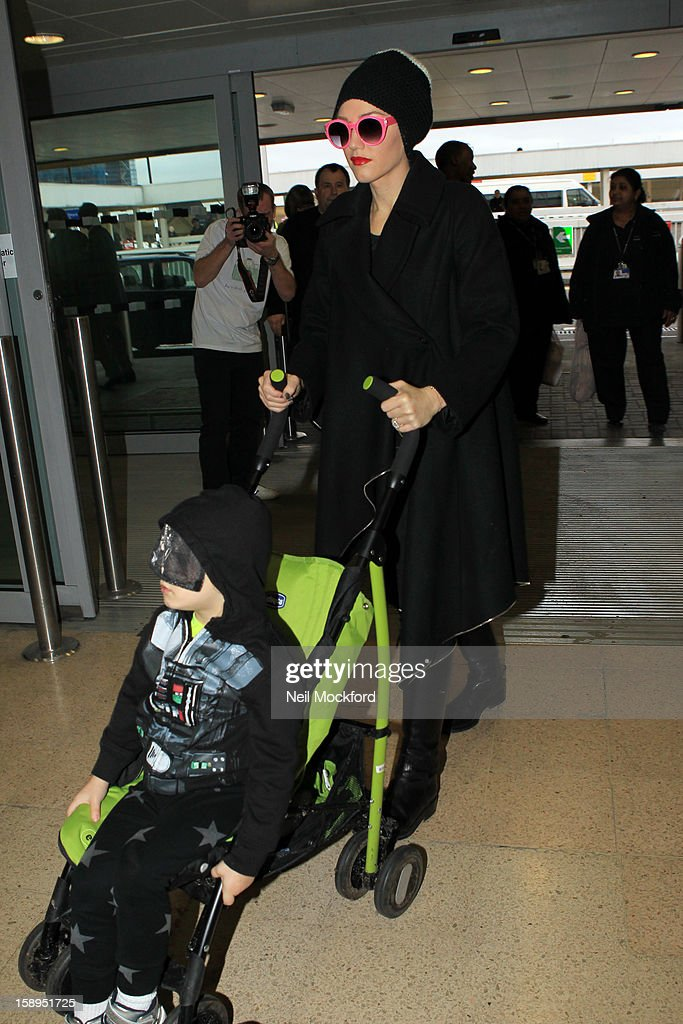 Gwen Stefani and Zuma Rossdale seen at Heathrow Airport on January 4, 2013 in London, England.