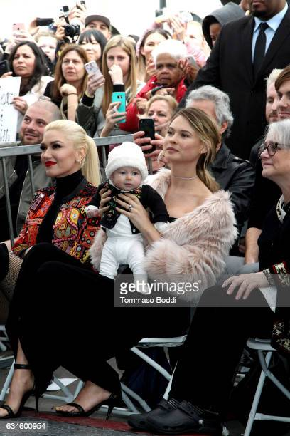 Gwen Stefani, Behati Prinsloo and Dusty Rose Levine attend a ceremony honoring Adam Levine with Star On The Hollywood Walk Of Fame on February 10,...