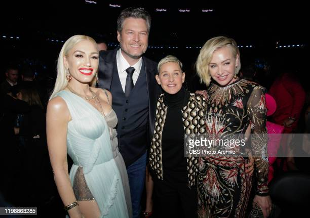 Gwen Stefani Blake Shelton Ellen Degeneres and Portia De Rossi appear at THE 62ND ANNUAL GRAMMY® AWARDS broadcast live from the STAPLES Center in Los...