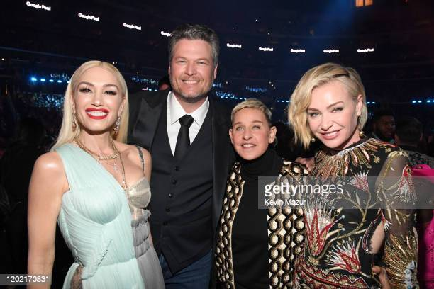 Gwen Stefani Blake Shelton Ellen DeGeneres and Portia de Rossi during the 62nd Annual GRAMMY Awards at STAPLES Center on January 26 2020 in Los...
