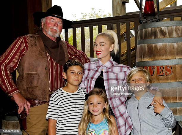 Gwen Stefani her son Kingston Rossdale niece Stella Stefani and son Zuma Rossdale attend the relaunch of GhostRider at Knott's Berry Farm on June 11...