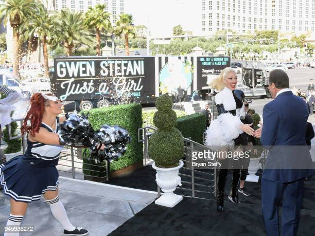 Gwen Stefani is greeted by Caesars Entertainment CEO Mark P Frissora at Planet Hollywood Resort Casino as they celebrate the launch of Stefanis' new...