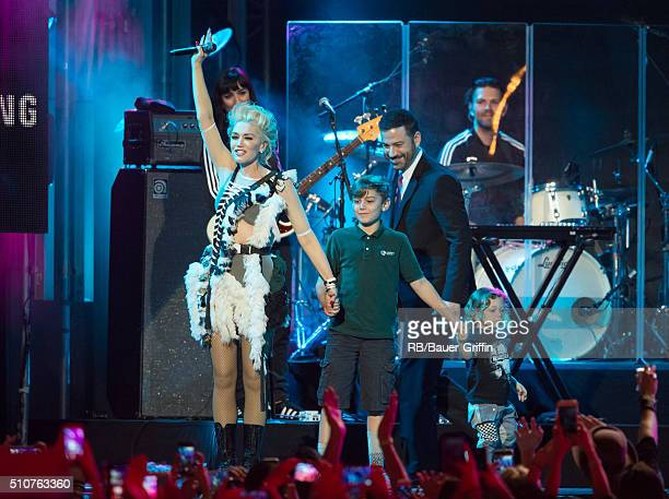 Gwen Stefani Kingston Rossdale Jimmy Kimmel and Apollo Rossdale are seen at 'Jimmy Kimmel Live' on February 16 2016 in Los Angeles California