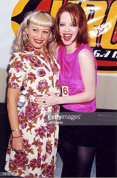 Gwen Stefani of No Doubt and Shirley Manson of Garbage at the 1996 KROQ Weenie Roast at in Los Angeles California