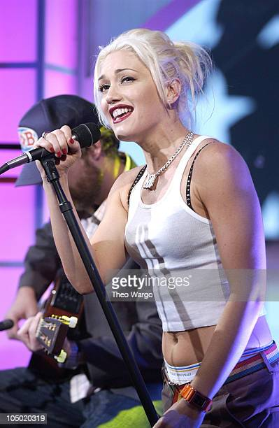 Gwen Stefani of No Doubt during MTV Celebrates 'TRL's' 1000th Show October 23 2002 at MTV Studios Times Square in New York City New York United States