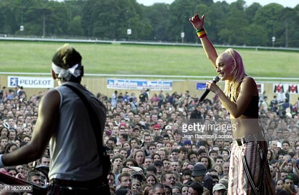 Gwen Stefani of No Doubt during Paris 2002 Solidays Festival No Doubt Concert at Hippodrome de longchamp in Paris France