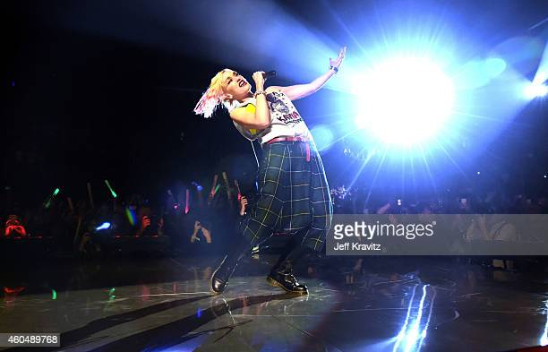 Gwen Stefani of No Doubt performs at the 25th Annual KROQ Almost Acoustic Christmas at The Forum on December 14 2014 in Inglewood California