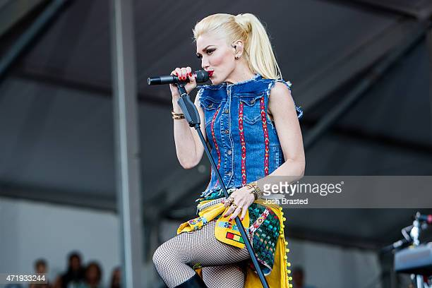 Gwen Stefani of No Doubt performs at the New Orleans Jazz Hertitage Festival at the Fair Grounds Race Course on May 1 2015 in New Orleans Louisiana