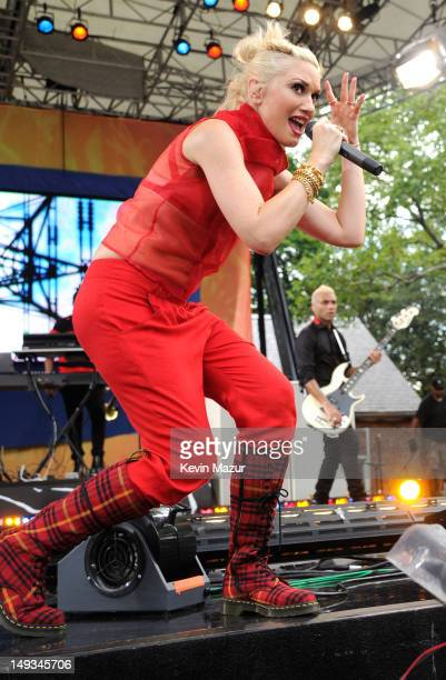 Gwen Stefani of No Doubt performs on ABC's Good Morning America at Rumsey Playfield Central Park on July 27 2012 in New York City