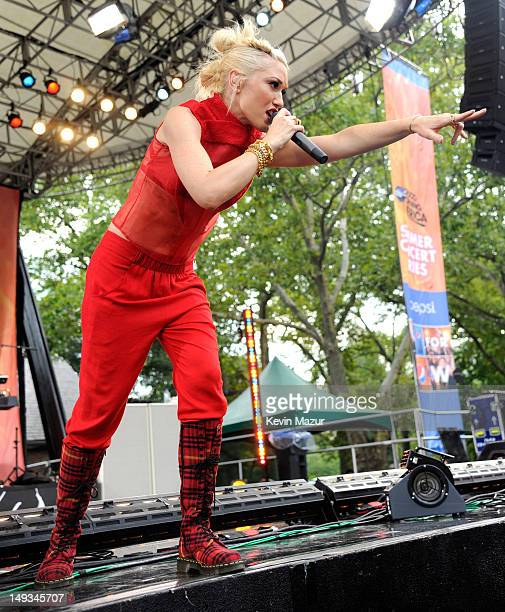 Gwen Stefani of No Doubt performs on ABC's 'Good Morning America' at Rumsey Playfield Central Park on July 27 2012 in New York City
