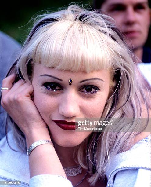 Gwen Stefani of No Doubt poses at Live 105's BFD 1996 at Shoreline Amphitheatre on June 14 1996 in Mountain View California