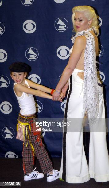 Gwen Stefani of No Doubt winner of Best Pop Performance by a Duo or Group with Vocal Award with her niece Madeline