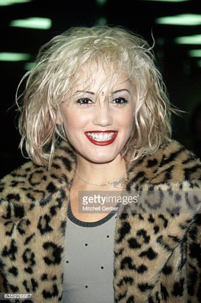 Gwen Stefani singer for No Doubt wears a leopard coat