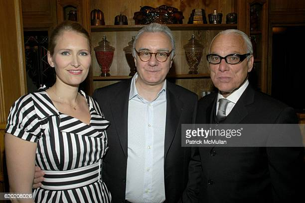 Gwenaelle Gueguen Alain Ducasse and Richard Turley attend Benoit Opening Party Hosted by Pamela Fiori and Alain Ducasse at Benoit Restaurant on April...