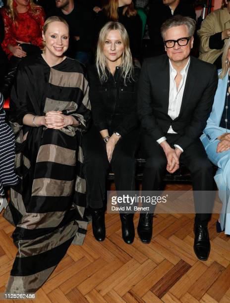 Gwendoline Christie Amanda Parkes and Colin Firth attends the International Woolmark Prize 18/19 Final show during London Fashion Week February 2019...