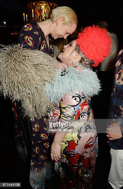Gwendoline Christie and Beth Ditto attend the Marc Jacobs Beauty dinner at the Club at Park Chinois on February 20 2016 in London England