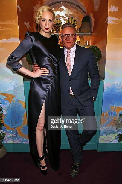 Gwendoline Christie and Giles Deacon attend the Charles Finch and Chanel PreBAFTA cocktail party and dinner at Annabel's on February 13 2016 in...