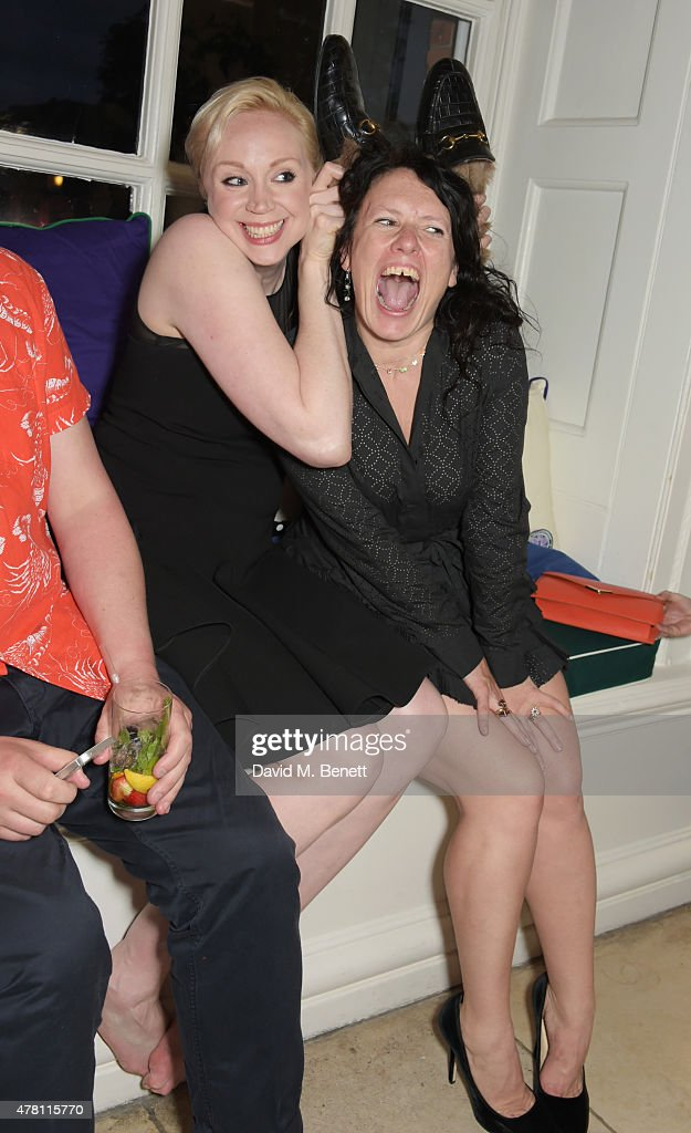 Gwendoline Christie (L) and Katie Grand attend The Ralph Lauren & Vogue Wimbledon Summer Cocktail Party hosted by Alexandra Shulman and Boris Becker at The Orangery at Kensington Palace on June 22, 2015 in London, England.