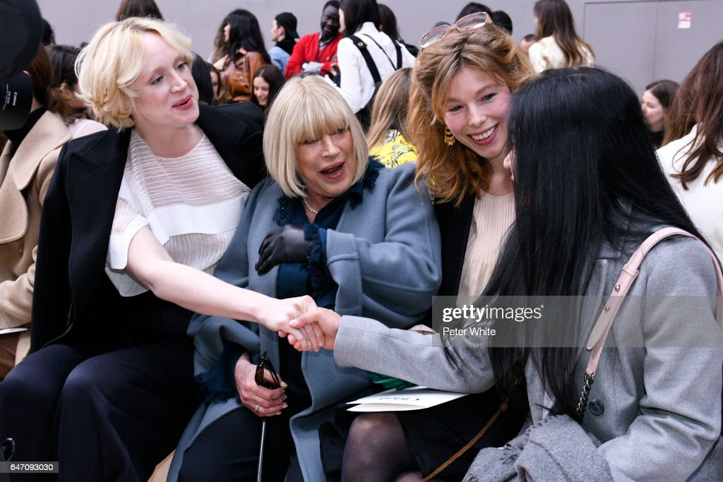 Gwendoline Christie and Marianne Faithfull attend the Chloe show as part of the Paris Fashion Week Womenswear Fall/Winter 2017/2018 on March 2, 2017 in Paris, France.