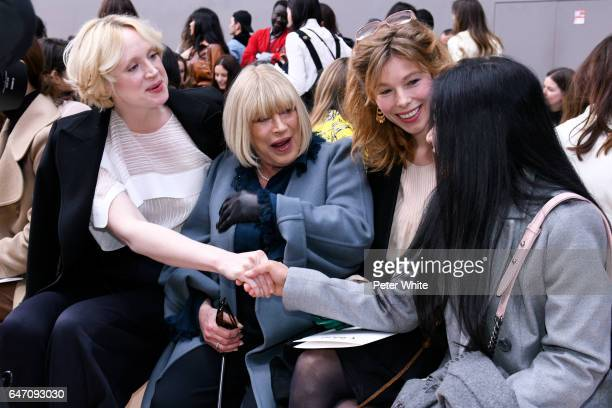 Gwendoline Christie and Marianne Faithfull attend the Chloe show as part of the Paris Fashion Week Womenswear Fall/Winter 2017/2018 on March 2 2017...