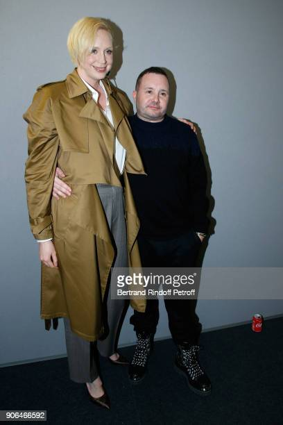 Gwendoline Christie and stylist Kim Jones pose after the Louis Vuitton Menswear Fall/Winter 20182019 show as part of Paris Fashion Week on January 18...