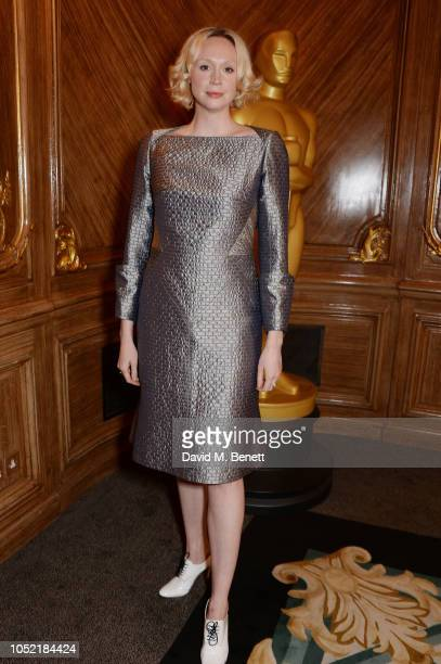 Gwendoline Christie attends The Academy Of Motion Pictures Arts and Sciences Women's Initiative Lunch at Claridge's Hotel on October 15 2018 in...