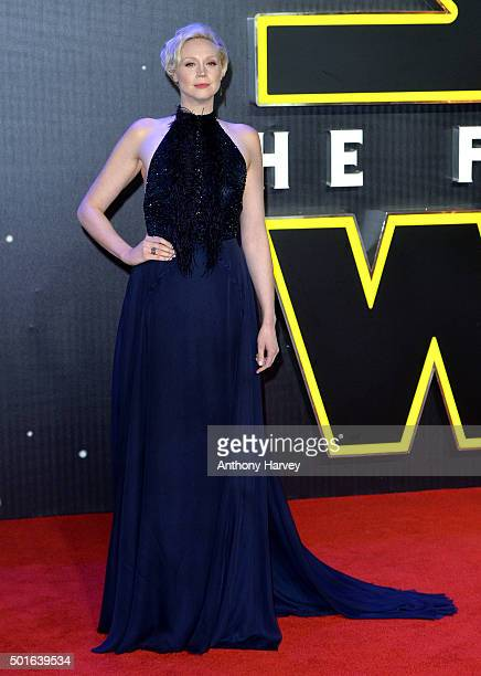 Gwendoline Christie attends the European Premiere of Star Wars The Force Awakens at Leicester Square on December 16 2015 in London England