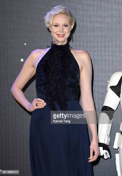 Gwendoline Christie attends the European Premiere of 'Star Wars The Force Awakens' at Leicester Square on December 16 2015 in London England
