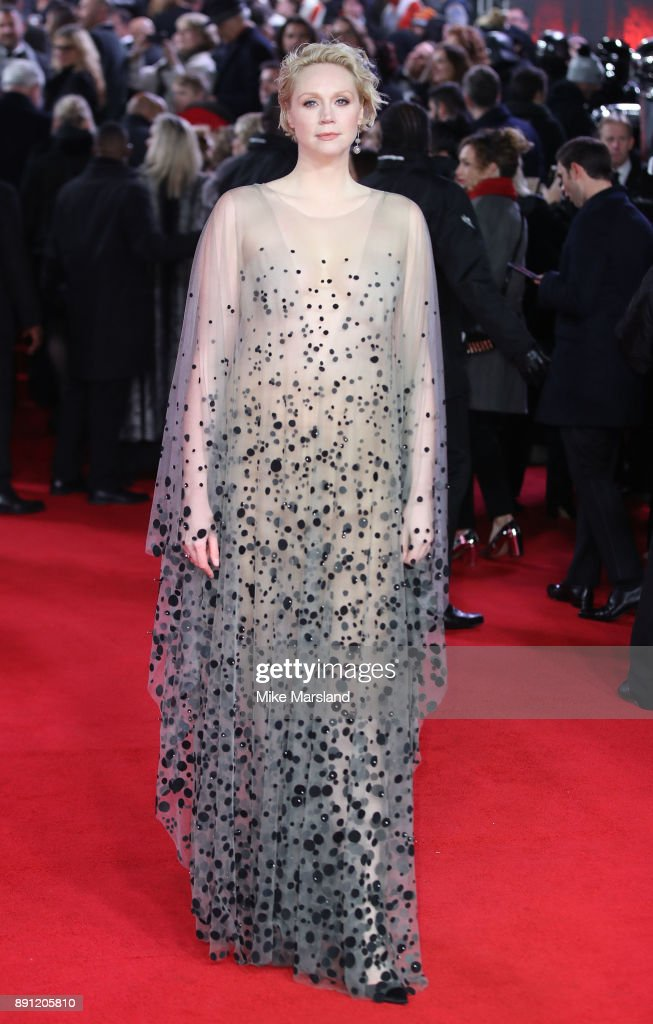 Gwendoline Christie attends the European Premiere of 'Star Wars: The Last Jedi' at Royal Albert Hall on December 12, 2017 in London, England.