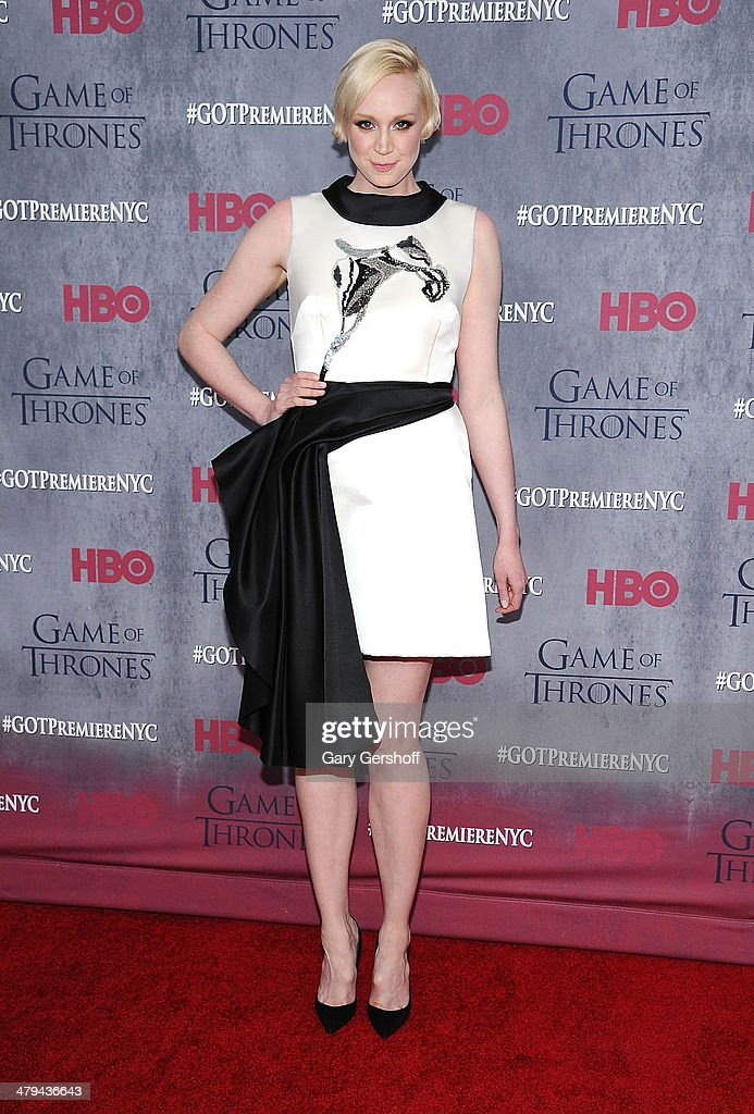 Gwendoline Christie attends the 'Game Of Thrones' Season 4 premiere at Avery Fisher Hall, Lincoln Center on March 18, 2014 in New York City.