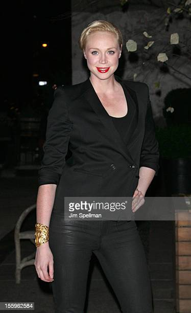 Gwendoline Christie attends the Gato Negro Films The Cinema Society screening of 'Hotel Noir' at Crosby Street Hotel on November 9 2012 in New York...