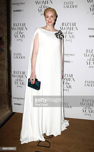 Gwendoline Christie attends the Harpers Bazaar Women of the year 2014 at Claridge's Hotel on November 4 2014 in London England