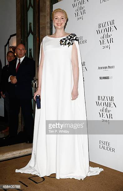 Gwendoline Christie attends the Harpers Bazaar Women of the Year awards at Claridge's Hotel on November 4 2014 in London England