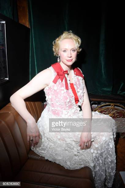Gwendoline Christie attends the Miu Miu after show as part of the Paris Fashion Week Womenswear Fall/Winter 2018/2019 on March 7 2018 in Paris France