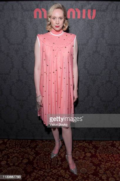 Gwendoline Christie attends the Miu Miu dinner and aftershow party at Raspoutine Club as part of the Paris Fashion Week Womenswear Fall/Winter...