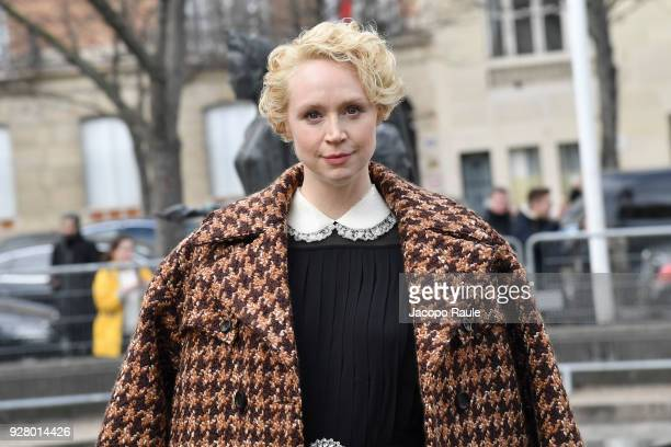 Gwendoline Christie attends the Miu Miu show as part of the Paris Fashion Week Womenswear Fall/Winter 2018/2019 on March 6 2018 in Paris France