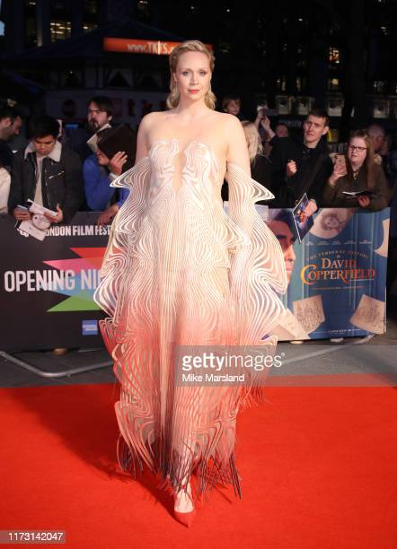 """Gwendoline Christie attends """"The Personal History Of David Copperfield"""" European Premiere and Opening Night Gala during the 63rd BFI London Film..."""