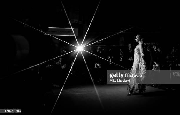 Image has been digitally manipulated Gwendoline Christie attends The Personal History Of David Copperfield European Premiere and Opening Night Gala...