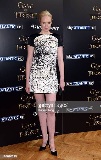 Gwendoline Christie attends the season launch of 'Game of Thrones' at One Marylebone on March 26 2013 in London England